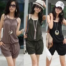 Womens Sleeveless Romper Strap Short Jumpsuit Overall Scoop