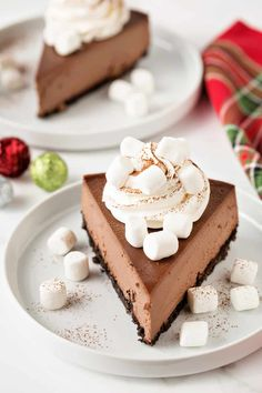 Hot Cocoa Cheesecake in bursting with hot cocoa flavor! You'll love every single festive bite! Cheesecake Bars, Chocolate Cheesecake, Cheesecake Recipes, Dessert Recipes, Baking Recipes, Homemade Chocolate, Chocolate Recipes, Hot Chocolate, Salty Cake