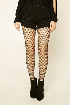 We love the way these fishnet tights from Forever 21 look with shorts and booties.