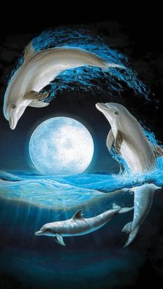 Magnificent Lenox Dolphins At Midnight Jumping Over A Sea Waves Dolphin Painting, Dolphin Art, Dolphin Images, Water Animals, Animals And Pets, Dolphins Tattoo, Delphine, Beautiful Moon, Orcas