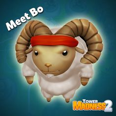 """Meet """"Bo"""" the Ram.  Bo is the flock's first line of defense. He will chase away the aliens on the map, but can protect you only once per round.  As male sheep become older, they grow a pair of fearsome horns, and earn the title of Ram. Competition is fierce, and many are killed in combat each year in the annual Ram Battle. The winners then go on to a global tournament. Only one ram has ever won, and he remains undefeated. That ram is Bo."""