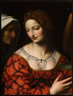 Salome by the Studio of Bernardino Luini ~ 1525-1530 ~ Lovely blackwork embroidery on her chemise ~ Bernardino Luini (Italian, 1482-1532) was a North Italian painter from Leonardo's circle. Both Luini and Giovanni Antonio Boltraffio were said to have worked with Leonardo directly. He was known especially for his graceful female figures with elongated eyes.