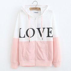WAIBO BEAR New Fahsion Women Warm Hoody Letter Printed Hoodies Female Long Sleeve Zipper Love Pink Sweatshirt Ladies