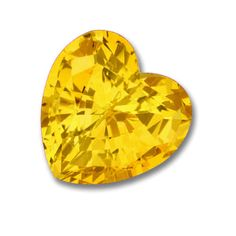 9x9mm Heart Shaped Gem Quality Chatham-Created Cultured Yellow Sapphire Weighs 3.13-3.83 Ct.