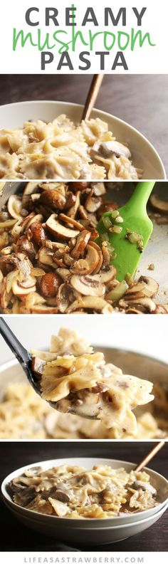 Creamy Mushroom Pasta | This quick and easy pasta recipe is perfect for busy weeknights! The creamy garlic mushroom sauce is easily customized based on whatever you have in your fridge, and it's ready in just 30 minutes. Vegetarian. quick diet cheat sheets