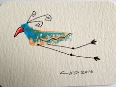 ACEO Original Abstract Bird Whimsical Nature Flight Parrot Feathers Illustration | eBay