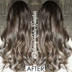 """And here is the amazing after!! goodbye copper and line of demacation! Beautiful seamless smokey dark ash brown graduating into a dark smokey blonde.…"""
