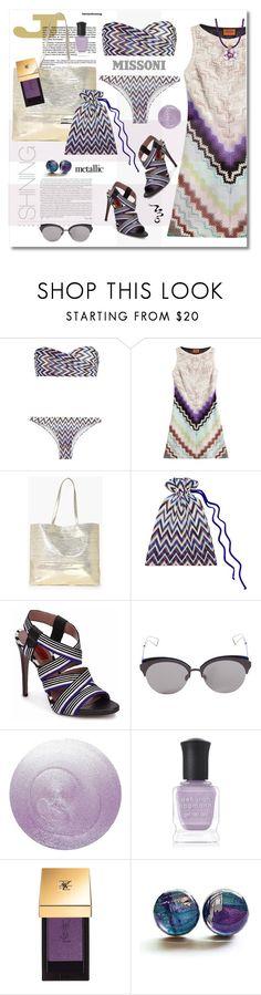 """Metallic Missoni Swimwear"" by esch103 ❤ liked on Polyvore featuring Missoni, Boohoo, Christian Dior, Deborah Lippmann, Yves Saint Laurent, Dani G Jewelry, missoni and metallicswimwear"