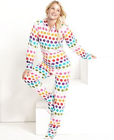 Jenni by Jennifer Moore Hooded Footed Pajamas - - Women - Macy's ...