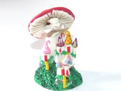 Whimsical Miniature Hand sculpted terrarium by mackenziemini (Home & Living, Outdoor & Gardening, Plants, Terrariums, Miniature Fairy, mushroom house, fairies elves, terrarium miniature, mushroom home, miniature garden, Fantasy gnome, elf fairy ooak, Hand sculpted, terrarium garden, Dolls and Miniatures, dollhouse elf, Troll House)