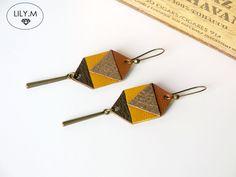 Boucles d'oreilles chandelier, Boucles d'oreilles , Géométrique Cuir, Jaune est une création orginale de Lily-m-shop sur DaWanda