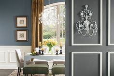 Painting Ideas - Cool & Relaxing Dining Room Colors! If you want a modern look, consider a neutral, blue-gray dining room color such as Lava Gray PPG1038-6 as your paint color for your main wall and an accent wall with another gray paint color like Up in Smoke PPG1010-6. For dining room trim use Tundra Frost PPG1009-1, a perfect off white paint color. Find drapes and decor in gold like Drops of Honey PPG1090-4 to complete the look.