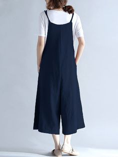 Casual Sleeveless Straps Pockets Pure Color Wide Leg Jumpsuits