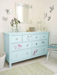 Hemnes dresser is one more precious find from IKEA that can be easily adapted to almost any interior. Blue Chest Of Drawers, Blue Chests, Blue Dresser, Colored Dresser, Repurposed Furniture, Painted Furniture, Home Furniture, Hemnes Drawers, Ikea Dressing Table