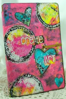 Hi Everyone, it's Sue Lelli here to show you a Dylusions Art Journal I covered with Gelli papers.  I recently took a class with the talented Stephanie Ackerman and I put what I learned to good use on this project! -- Create Art Journal Cover - Eclectic Paperie
