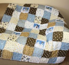 Flannel Rag Lap  Couch  Dorm Quilt in Blues & by CactusPenguin