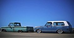 Hot Wheels - Bad ass shots of The Trader and Larry posted up and looking sweet, @delmospeed on the build! @the_only_jp @nickbrais #chevrolet #gmc #c10 #blazer #airsuspension #accuair #stance #raked #layframe #streettruck #streetrod #hotrod...