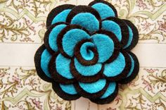 Black and Teal Felt Hair Clip/Broach by sweetcabbagerose on Etsy, $5.00