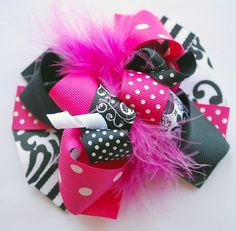 boutique SHOCKING pink and BLACK FUNKY fun hair bow by andjane, $12.99