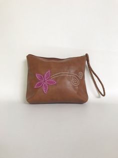 Brown Leather Clutch Bag with Wrist Strap, Bag with Flower, Wristlet Bags, Fashion Trendy Pouch, Handbag, Weekend Purse, Cosmos