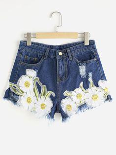 Shorts en denim roto de borde crudo aplique de girasol-Spanish SheIn(Sheinside)