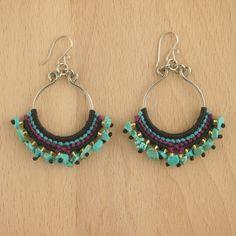 Boucles d'oreilles SILFO turquoise faits main latino. Bijoux fait main ethnique chic, 25.90€