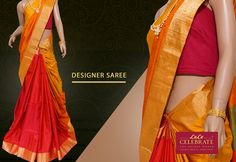 Be a style icon with this captivating designer saree from Lulu Celebrate!!!  Material: Jute with silk Color: Mustard with rust  Work: Light colored body and dark contrast pallu & blouse   #DesignerSaree #LuluCelebrate