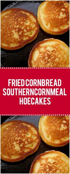 Fried cornbread, is also known as cornmeal hoe cakes and corn cakes, and sometimes Johnnycakes, is a sort of fried cornmeal flatbread – kind of like if you took cornbread batter and skillet fried it Cornmeal Recipes, Corn Recipes, Bread Recipes, Cooking Recipes, Cornmeal Cakes Recipe, Fried Cornbread, Cornbread Cake, Cornmeal Cornbread, Skillet Cornbread