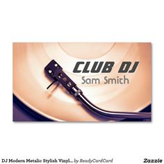 DJ Modern Metalic Stylish Vinyl Recoder Mixer Business Card