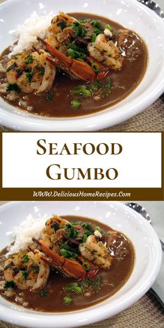 This delightful Seafood Gumbo is full of shrimp and crab and it has a nice spicy kick. There's nothing like a warm bowl of gumbo, and I es. Cajun Recipes, Easy Soup Recipes, Seafood Recipes, Healthy Dinner Recipes, Pasta Recipes, Chicken Recipes, Cooking Recipes, Delicious Recipes, Gumbo Recipes