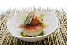 Trout and Scallop/Cabbage & Broccoli, Pea Sauce, by 21212 Chef Paul Kitching – Edinburgh | EatNorth
