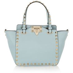 Valentino The Rockstud mini leather trapeze bag (27,015 MXN) ❤ liked on Polyvore featuring bags, handbags, blue, valentino purses, leather purse, mini handbags, cellphone purse and blue leather handbag