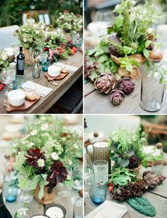 our Farm-to-Table Wedding Inspiration table scape of herbs & heirlooms as featured on Green Wedding Shoes blog by PANACEA event floral design www.panaceaflowery.com