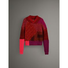 Cashmere Wool Patchwork Sweater in Berry Red - Women | Burberry United States