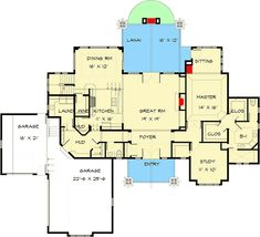 Stunning Craftsman Home Plan with Main-Floor Master Suite - floor plan - Main Level Craftsman House Plans, Craftsman Homes, Craftsman Style, Modern Farmhouse Exterior, Roof Plan, Architectural Design House Plans, Exterior House Colors, Floor Design, House Design