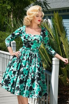 Pinup Couture - 50s Margaret Rose Dress in Mint and Black