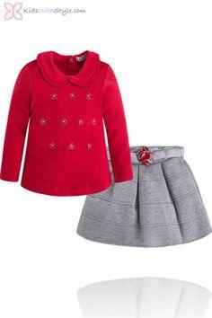 Girls Red and Grey Long Sleeved Blouse and Skirt Set  #girlsfashion #fungirlsfashion #girlsskirts #fungirlsskirts #younggirlsfashion #skirt #stylishgirls #girlstyle #girlssets