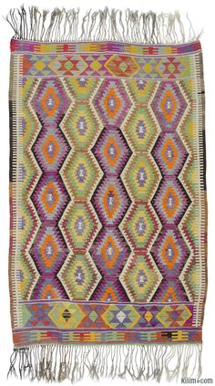 Vintage kilim rug hand-woven in Antalya, Turkey in 1960's. This tribal kilim is in very good condition.