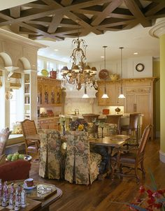 Gorgeous ceiling :: View 1 of 2 :: WEXFORD home design decorating Dining Area, Kitchen Dining, Kitchen Decor, Dining Rooms, Kitchen Chairs, French Country House, French Cottage, French Decor, French Country Decorating