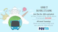 #Paytm Offer: Get Casback Of Rs.200 On Bus Ticket Bookings Of Rs.300 & More. Coupon Code Can Be Used Maximum Of 5 Times Per User