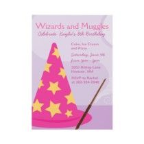 Harry Potter, Wizards and Muggles, Kids Birthday Party Theme Invitations - For Tabitha