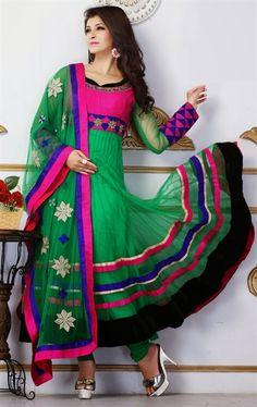 Picture of Charming Green Color Designer Churidar Kameez