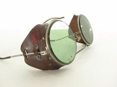 Antique Steam Punk Green Pilot Goggles by snootieseconds on Etsy, $112.00