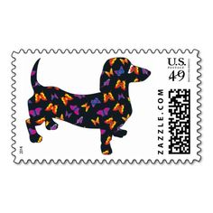 Butterfly Doxie Dachshund Postage