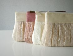 4 Bridesmaid lace clutch Ruched bags Pleated lace by HelloVioleta, $104.00