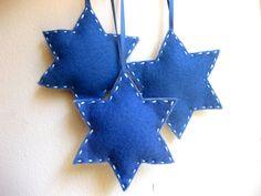 Star Hanukkah felt ornaments  - handmade hand-stitched folk art - Hannukah Chanukah ornaments