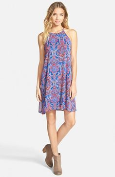 EVERLY Paisley Halter Swing Dress available at #Nordstrom