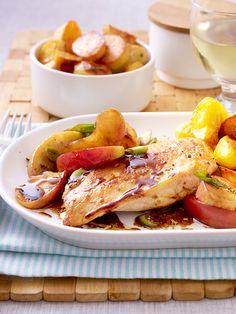 Zartes Hähnchen und dazu ein lecker-pikantes Balsamico-Apfel-Sößchen. Dazu schmecken knusprige Kartoffeln aus dem Ofen.