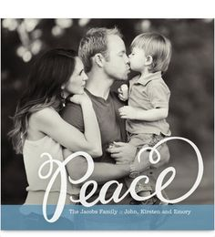 Blue Peace Banner Photo Christmas Card // cardstore.com