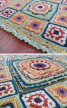 Eve's Sunflowers - A Magnificent Crochet Blanket Pattern made up of a lot of squares!